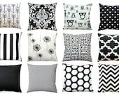 Lumbar Pillow Cover, Black Cushion Cover, Zippered Pillow, Sofa Throw Pillows, House Decor, Accent Pillows, Black Pillow, 12x18 Choose Size