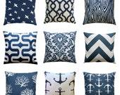 Navy Pillows, PREMIER Navy Blue Pillow Cover, Zippered Pillow, Nautical Cushion Cover, Blue Beach Decor, Accent Pillow, Nautical Decor