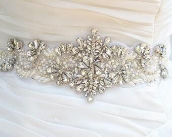 SALE PAOLA SWAROVSKI Wedding Belt, Bridal Belt, Sash Belt, Crystal Rhinestones & Pearls