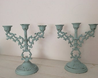Pair Shabby Cottage Chic Candelabras - Painted Aqua Mint Distressed - French Cottage Decor - Candleholders Small Ornate - Bathroom - Wedding