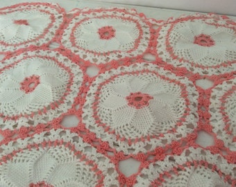 Shabby Chic Coral Dresser Scarf - Small Table Runner - Cottage Decor - Crocheted  White- Girls Room - Baby Nursery - Peach - French Cottage