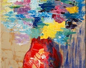 ORIGINAL Flowers Abstract Still Life Painting Fine Art Impasto texture Palette knife oil Pretty Great Colors blue red Bouquet  by IraSher
