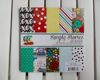 Simple Stories Life in Color, 6X6 in. pad, 24 double-sided sheets, ideal for card making, pocket/snap scrapbooking, art journaling, planners