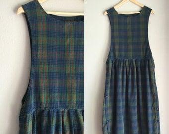 Plaid flannel jumper dress size large