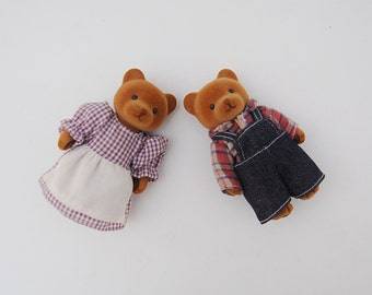 Vintage Sylvanian Families Bears, Calico Critters Brown Bear Couple
