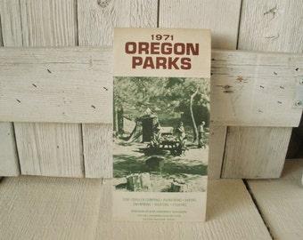 Vintage Oregon Parks guide map camping fishing hiking folded 1971