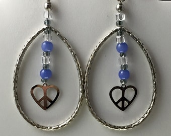 Hey Loops, Beads & Peace Earrings- Charity donation too!