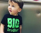 BIG brother tee or onesie // black onesie black tee shirt // lime green // big sister big brother little brother little sister