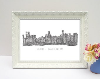 Castell Caernarfon with writing, illustrated drawing A4 unframed print