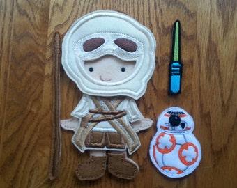 Star Wars inspired Rey felt doll with BB8