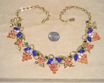 Vintage Signed Florenza Necklace Choker With Blue Glass And Multi Colored Rhinestones 1960's Jewelry 7072