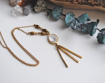 Handmade Vintage Crystal Brass Long Necklace