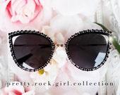 Oversize Black Cateye Sunglasses, cutout sunglasses, rhinestone sunglasses, black sunglasses, Audrey Hepburn sunglasses,  fashion sunglasses