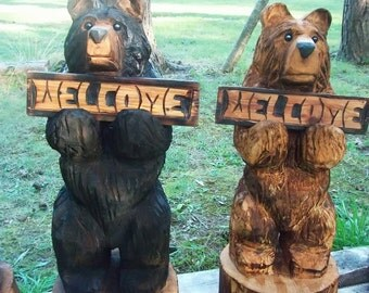 "30"" Chainsaw Carved Bear Holding a Carved Welcome Sign"