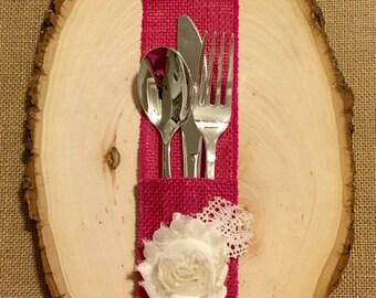 Hot Punk Fuchsia Burlap Silverware Holder with white fabric flower - Set of 4