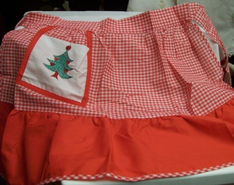 Gingham Christmas Apron Vintage Red Holiday Half Apron
