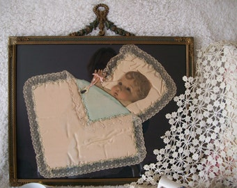 Victorian Ribbon and Hair Art Baby Picture Ornate Frame On Sale
