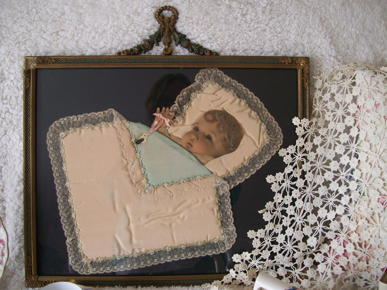 Victorian Ribbon And Hair Art Baby Picture Ornate Frame On