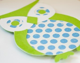 Owl Baby Shower Boy Birthday Party Invitations Blue and Green Polka Dots Thank You Notes