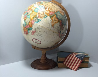 Vintage Globe, Replogle Globe, World Globe, World Atlas, World Map, Man Cave Educational Study Decor Beige Tan, World Classic Series
