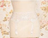 """Vintage Ivory Embroidered Tulle Garter Belt, Suspender Belt. Circumference: 26 - 30"""""""