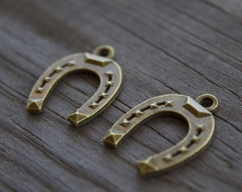 10 Bronze Horseshoe Charms  22mm Antiqued Bronze