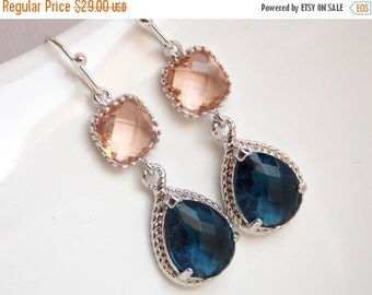 SALE Peach Earrings, Navy Blue, Glass, Silver, Champagne, Blush, Bridesmaid Jewelry, Wedding Jewelry, Bridesmaid Earrings, Bridesmaid Gifts