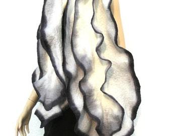 Felted scarf, ruffled shawl, merino wool scarf, Handmade felted white scarf.