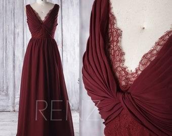 2016 Wine Chiffon Bridesmaid Dress Long, V Neck Lace Wedding Dress, V Back Prom Dress, Women Formal Dress Floor Length (L135B)