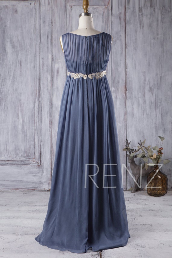 2017 Steel Blue Chiffon Boho Bridesmaid Dress Scoop Neck