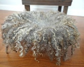 Gray and Brown Felted Curly Wool Fluff Layer/ Mat/ Basket Stuffer Photo Prop, Wool Baby Blanket, MADE TO ORDER