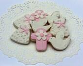 Mini Baptism Sugar Cookies - Baby Girl - 2 1/2 Dozen Mini Bites - Christening Cookies