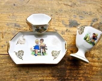 Limoges Egg Cup Set - Porcelain Egg Set for Children 3 pieces - Egg Cup, Salt Cellar and Tray FREE SHIPPING