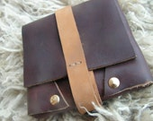 reclaimed leather envelope / pouch with snap closure