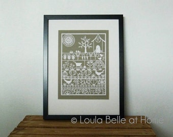 The Good Life - an original hand cut paper cut from a template by Loula Belle at Home