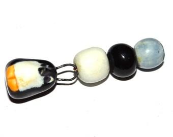 Ceramic Penguin Charm Pendant & Beads Sculpted Animal Bird Winter