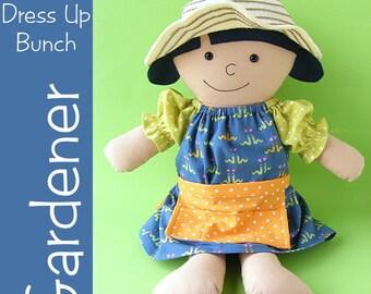 Gardener - doll dress, apron and hat pattern collection (digital PDF pattern)