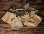 Mixed Leather Scraps, Taupe Colored, 7.6oz / 215g, Small Size Leather Destash