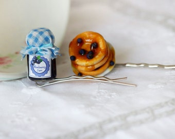 Miniature Food Bobby Pins - Blueberry Pancake Hair Pins -  Kawaii Hair Pins - Miniature Food Hair Accessories - Sweet Lolita Accessories