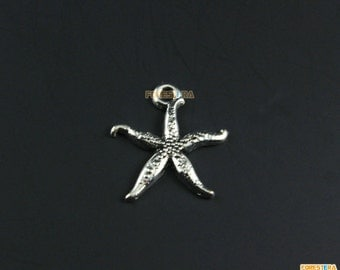 50Pcs Antique Silver Star Fish Charm Star Fish Pendant 17x16mm (PND1194)