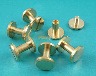 10*8mm Solid Brass Rivet Chicago Screw for Leather Craft Belt Wallet / Flat Head (FB10X8)