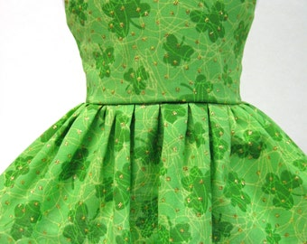 Green Clover Scramble, St. Patrick's Day Sleeveless Dress for Your American Girl Doll