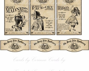 Alice in Wonderland scary 6 bottle glossy laminated adhesive party decor favor