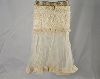 Wedding Handbag with Antique Silk Flounce