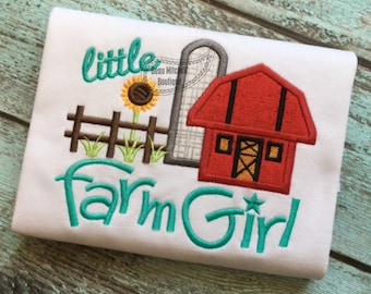 Farm Girl Barn - Embroidered and Personalized Shirt - Colors can be changed