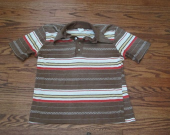 Vintage 70s Mens Striped Shirt