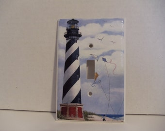 Art Print of Cape Hatteras Lighthouse on Single Switch Plate Cover
