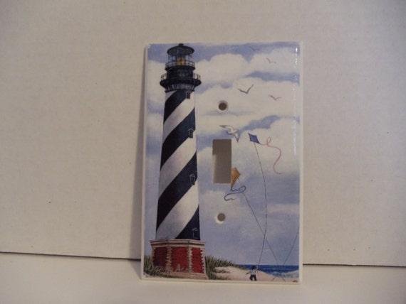 Art print of cape hatteras lighthouse on single switch plate for Lighthouse switch plates