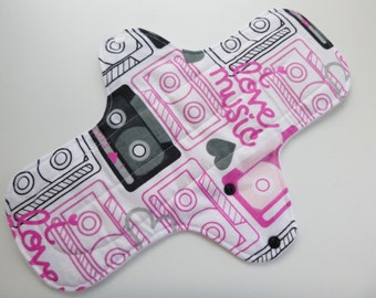 12 inch cloth pad - cloth menstrual pad - heavy flow cloth pad - plus size pad - pink & grey vintage mix tape flannel top - ready to ship