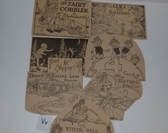 V4 Antique children's story book illustration clippings black white drawings vintage paper ephemera supplies 1920's 30's